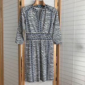 Size XS J. McLaughlin dress black and white stripe